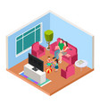 isometric family time parents and kids vector image vector image