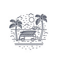 monochrome composition with camper trailer vector image vector image