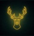 neon deer head sign night bright signboard vector image vector image