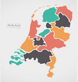 netherlands map with states and modern round vector image vector image