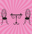 old retro chairs and table vector image