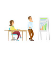presenter looking at whiteboard thinking data vector image vector image