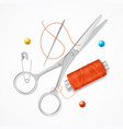 realistic detailed 3d sewing craft concept vector image vector image