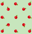 red realistic apples on green vintage background vector image