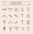 set minimalistic barber shop icons vector image
