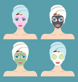 set of 4 women with cosmetic face masks vector image vector image