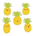 Set of cute pineapples with different emotions for vector image vector image