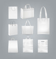 set of shopping bags with handle made from vector image vector image