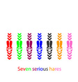 seven serious hares pointers rabbit bunny vector image