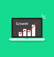statistic graph in cartoon laptop like growth vector image vector image