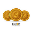 three golden bitcoin sign on white background vector image vector image