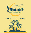 banner with sea mountains and palm trees vector image