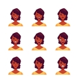 Set of african woman face expression avatars vector image