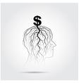Tree of business shoot grow on human head symbol vector image