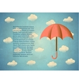 Aged vintage card with umbrella