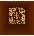 Beautiful floral monogram design Elegant line vector image