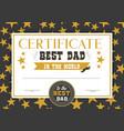 best dad in world certificate vector image vector image