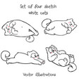 big set of four sketch white resting cats vector image vector image