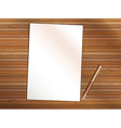 blank sheet paper with pen on wooden table vector image vector image