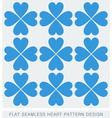 Blue heart seamless background pattern flat design vector image vector image