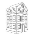 building residential house 3 floors outline vector image vector image