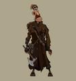 cartoon man in overcoat post apocalypse stands