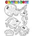 coloring book with sea animals 3 vector image vector image