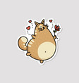 comic fat cat running with flowers sketch cartoon vector image