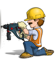 Construction Workers Drilling vector image vector image