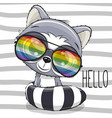 cool cartoon cute raccoon with sun glasses vector image