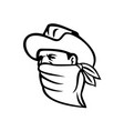 cowboy bandit or outlaw wearing face mask looking vector image vector image