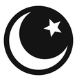 Crescent and star icon simple style vector image vector image