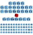 cube alphabet numbers vector image vector image