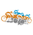 cyclists at full speed going downhill vector image vector image