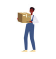 delivery man or courier with a cardboard box vector image vector image
