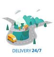 delivery service concept truck van landscape vector image