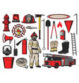 firefighter equipment and fire fighting tools vector image vector image