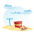for childrens sand bucket and a rake with shell vector image vector image