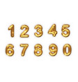 golden numbers set realistic 3d vector image vector image