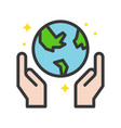 hand holding globe earth day icon them filled vector image