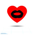 heart red icon and lip imprint valentine holidays vector image