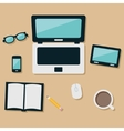 laptop and equipments on the table vector image vector image