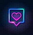 neon heart in speech bubble on dark brick wall vector image vector image