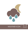 rain cloud moon icon meteorology weather vector image vector image