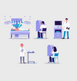 robot-assisted surgery set with surgeons flat vector image vector image