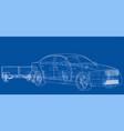 sedan with open trailer sketch vector image vector image