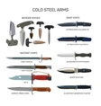 set of combat knifes icons isolated on vector image