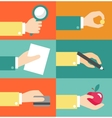 set of hands - clients purchasing work in vector image vector image
