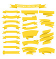 set yellow ribbons isolated on white background vector image