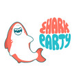 shark cartoon seafish cute smiles and vector image vector image
